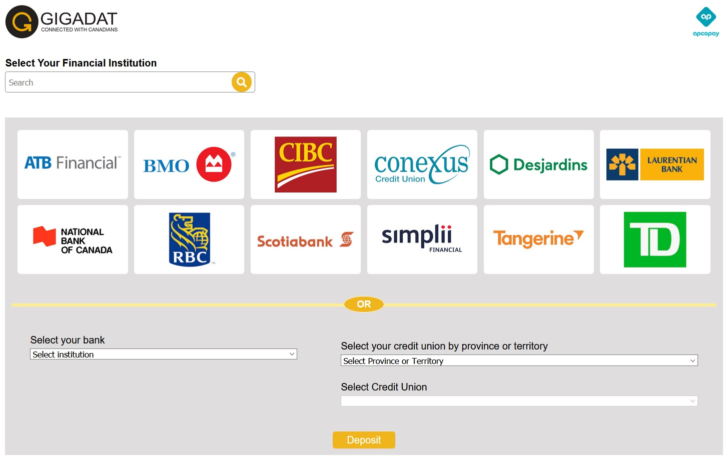 interac-deposit-bank-selection-page