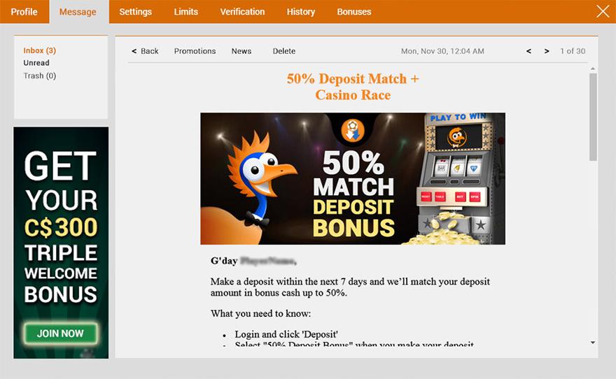 emucasino-inbox-message-screenshot