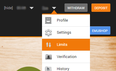 emucasino-account-limits-screenshot